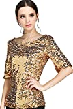 Vemubapis Las Mujeres De Cuello De Barco Lentejuelas Camiseta Oficina Blusa Color Dorado Brillante Golden XXL
