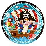 NET TOYS 8 Coloridos Platos Motivo Pirata | 23 cm de diámetro | Increíble decoración para Fiesta vajilla desechable para Fiesta Motivo Pirata | Adecuada para Fiestas de cumpleaños Infantiles