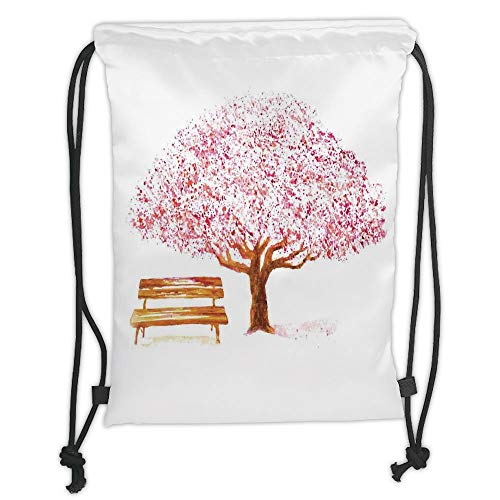 Icndpshorts Nature Decor,Watercolor Blooming Cherry Tree in The Park with Wooden Bench Floral Art Print,Pink Brown Soft Satin,5 Liter Capacity,Adjustable String Closu