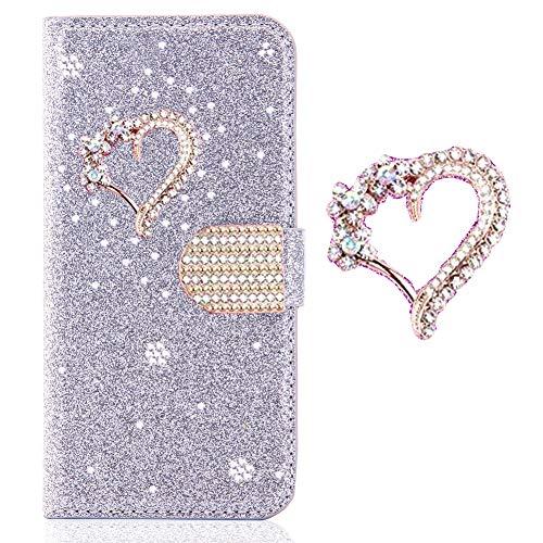 Ansehnliche Modisch BookStyle für Samsung A10,Funkeln Bling Glitzer Diamant Slim Hülle Leder Scratch Bumper Flip Wallet Stand Card Slots Pocket Etui A10-kamera