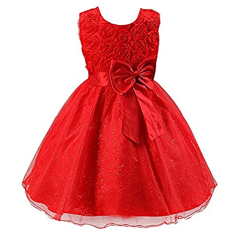 LSERVER Girls Rose Flower Bow Dresses Princess Party Dresses Wedding Bridesmaid Red 2-3 Years