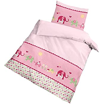 fein biber baby m dchen bettw sche happy elefant in rosa pink 2 tlg 40x60 100 x 135 cm. Black Bedroom Furniture Sets. Home Design Ideas