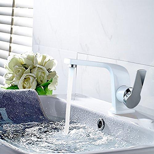 Homelody – Einhebel-Waschbeckenarmatur, ohne Ablaufgarnitur, Curved-Design, Weiß-Chrom - 2