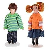 B Blesiya 1/12 Dollhouse Miniature People Figures Cute Little Girl & Little Boy Accs