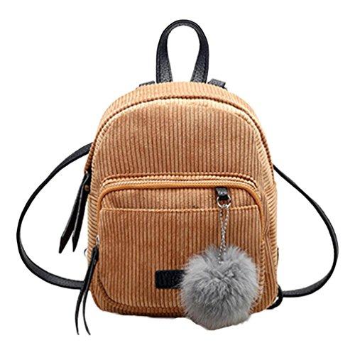 Mochilas Mujer Bolsa de viaje Bolsa de hombro Bolso pequeño de Corduroy LMMVP (24cm*20cm*10cm, Caqui)