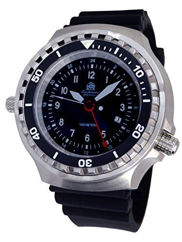 Tauchmeister - Reloj XXL 52 mm - 1000 m - Reloj militar de buceo con cristal de zafiro y válvula de helio T0311