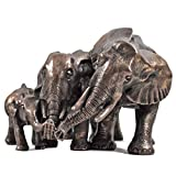 Family Of Three African Elephant Bronze Statue Perfect Gift Idea For Animal Lovers
