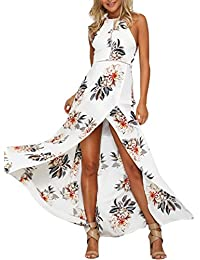 73664a30f5a Simplee Apparel Damen Chiffon Maxikleid Elegant Blumen Ärmlos Rückenfrei  Split Lang Kleid Strandkleid Weiß