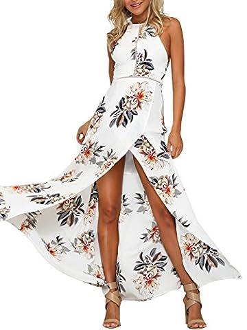 Simplee Apparel Damen Chiffon Maxikleid Elegant Blumen Ärmlos Rückenfrei Split Lang Kleid Strandkleid