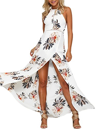 Simplee Apparel Women's Halter Neck Backless Floral Print Maxi Wrap Dress Party