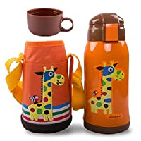 Children Water Bottle Giraffe Double Wall Vacuum Insulated Stainless Steel Bottle with Cup Carrying Pouch 500ml
