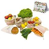 Happy Koa Wiederverwendbare Einkaufsnetze für Obst und Gemüse | großes 7er Set Obstbeutel Gemüsebeutel inkl. Geschenk