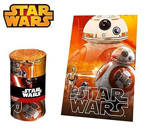 SWE70259 Couverture polaire douce et chaude DRONE BB-8 Star Wars 100 x 150 cm - Plaid