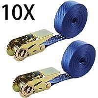 10 piezas Correa de amarre de trinquete con correa de tensión Correas de trinquete 6 x 2,5 cm, capacidad de amarre de tensión de 400 daN Cinturón de tensión de 800 daN con trinquete azul marino
