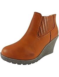 Loudlook Nouveau Femmes Dames Cheville Chelsea Mode Casual Chaussures Mid Talon Wedge Taille 2-8
