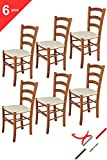Tommychairs 6er Set Stühle VENICE, robuste Struktur aus lackiertem Buchenholz im Farbton Kirschholz und gepolsterte Sitzfläche mit STOFF in der Farbe Elfenbein bezogen. Set bestehend aus 6 Stühlen Venice