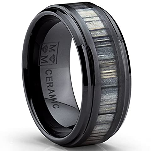 Ultimate Metals Co. ® Black Ceramic Wedding Band Ring with Real Zebra Wood Inlay, 9MM Comfort Fit