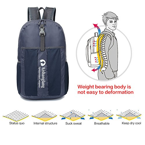 freelink Reise Folding Bag Casual Fashion tragbar outdoor ghoulder Tasche Nylon Wasserdicht Sporttasche Lagerung, Outdoor Tasche Licht Rucksack kann gefaltet werden grau