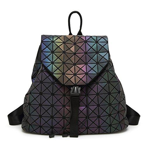 Frauen Leuchtende Rucksäcke Weibliche Tägliche Rucksack Geometrie Paket Pailletten Falten Taschen Schultaschen 2