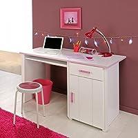 Preisvergleich für Schreibtisch Mona weiß / rosa Computertisch Kinderschreibtisch Jugendschreibtisch Kinderzimmer Jugendzimmer Tisch