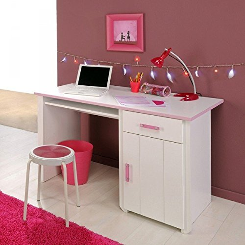 Schreibtisch Mona weiß / rosa Computertisch Kinderschreibtisch Jugendschreibtisch Kinderzimmer Jugendzimmer Tisch