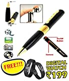 #10: VOLTAC Spy Hd Pen Camera With Voice-Video Recorder And Dvr-Hidden-Camcorderwith free Digital wrist watch (Multi-color)