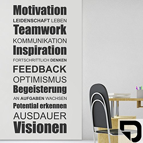 DESIGNSCAPE® Wandtattoo Visionen: Motivation, Leidenschaft, Leben, Teamwork, Kommunikation, Inspiration, Fortschrittlich denken, Feedback... 42 x 100 cm (Breite x Höhe) schwarz DW803205-S-F4