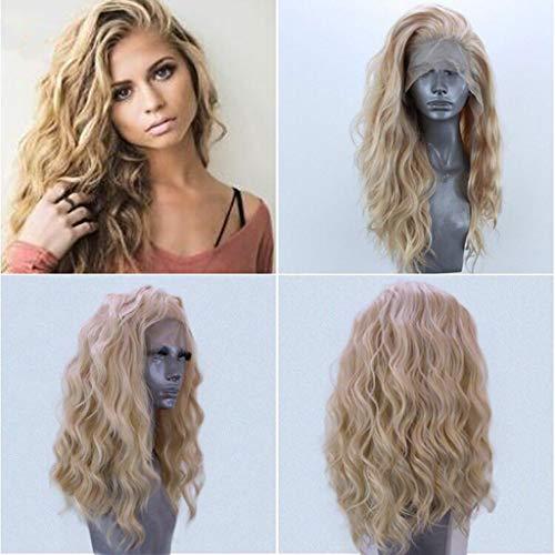 Muamaly Damen Perücke Lang Blond Mode Sexy Lace Front Wellen Lockig Synthetische Hitzebeständig Wig für Karneval Fasching Cosplay Party