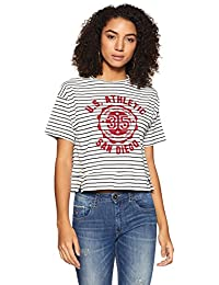 Symbol Amazon Brand Women's Striped Loose Fit T-Shirt