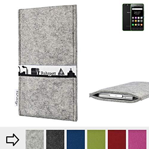 flat.design für Hisense Rock Lite Schutzhülle Handytasche Skyline mit Webband Ruhrpott - Maßanfertigung der Schutz Tasche Handycase aus 100% Wollfilz (hellgrau) für Hisense Rock Lite