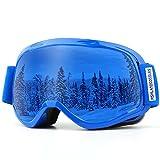 AKASO Skibrillen Snowboardbrille mit Frame/Rahmen Anti-Fog/Nebel, 100% UV-Schutz, Helmkompatible Ski Goggles für Jung, Mädchen/Damen, Herren
