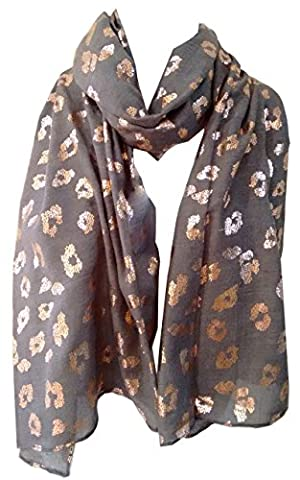 GlamLondon Leopard Scarf Rose Gold Glitter Foil Leopards Animal Print Ladies Party Casual Fashion Wrap (Charcoal