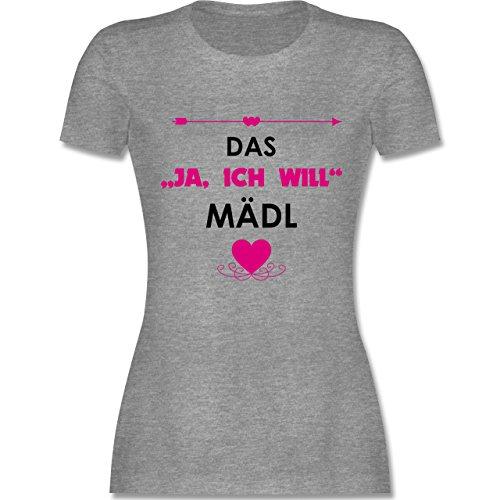 Night Kostüm Fun Super - JGA Junggesellinnenabschied - Das Ja, ich Will Mädl - L - Grau meliert - L191 - Damen Tshirt und Frauen T-Shirt
