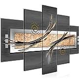 Bilder Abstrakt 5 teilig Wandbild 150 x 100 cm Vlies - Leinwand Bild XXL Format Wandbilder Wohnzimmer Wohnung Deko Kunstdrucke Grau 5 Teilig - MADE IN GERMANY - Fertig zum Aufhängen 103953b