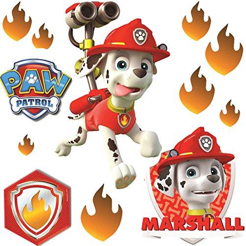 12 TLG. Set _ Fensterbilder -  Paw Patrol - Feuerwehr Hund Marshall  - selbstklebend + wiederverwendbar - Sticker Fenstersticker Aufkleber - Fensterbild / z.. ()