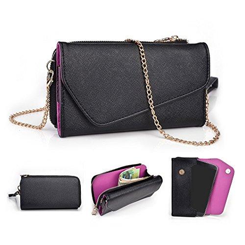 Kroo d'embrayage portefeuille avec dragonne et sangle bandoulière pour LG G flex2 Rouge/vert Black and Violet