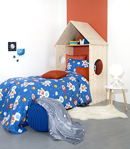 Aminata Kids – Bettwäsche á 135x200 cm Kinder Jungen Baumwolle + Reißverschluss Astronaut Weltall Blau Weiß Gelb Kinderbettwäsche Universum Weltraum Bettbezug Bezug 2-teiliges Bettwäscheset Ganzjahres Normalgröße (Blau Und Gelb Bettbezug)