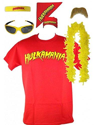 Kostüm Hulk Hogan Hulkamania Rot Retro Bis 5XL !, (Hulk Kostüm Hogan Hollywood)