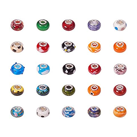 PandaHall 200 Pcs Mixed Color Rondelle Handmade Lampwork European Beads with Large Hole Beads, about 14mm wide, 10mm long, hole: