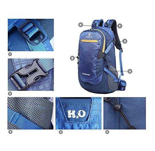 LF&F 35 l wasserdichte Nylon Sport Outdoor Bergsteigen Rucksack Reise-Wanderung Doppel-Schulter-Tasche Ride Sports College Student Bag multifunktional kann Schulter Gurt Tasche abnehmbar und Carry Blue