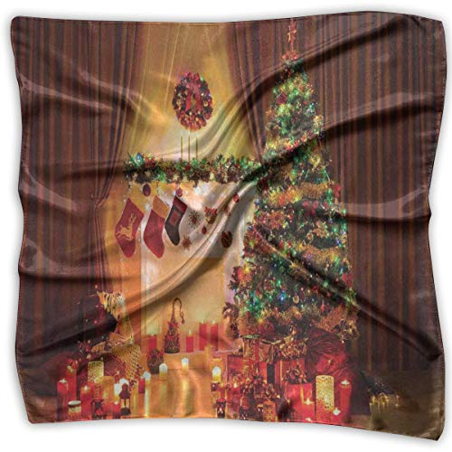 Mixed Designs Silk Square Scarves Bandana Scarf, New Year In The House With Various Objects In Peaceful Place Photography Print,Womens Neck Head Set