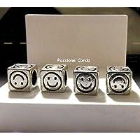 mod. Pandora Ciondoli DADO SMILE in metallo per bracciali/collane/portachiavi nichel free