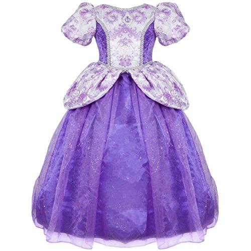 Trullala Kinder Kleid Prinzessin lila 4-6 Jahre Märchen Fee Kostüm Fasching ()