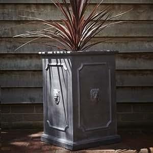 70cm Hauteur Clayfibre Coffret cadeau boîte carré Pot de fleurs Pot de fleurs jardin Tête de Lion
