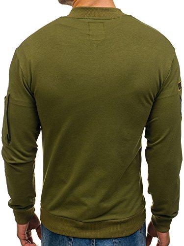 BOLF Herren Sweatshirt Sweatjacke Langarmshirt Stehkragen Zip 1A1 MIX Khaki_0736