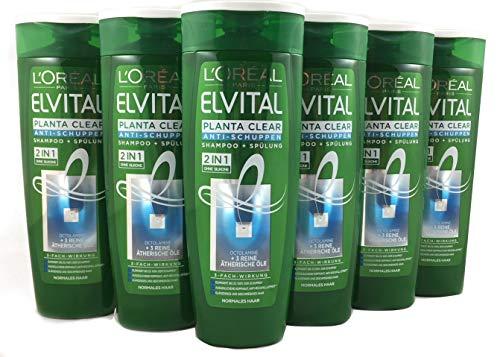 L'Oréal Paris Elvital Planta Clear 2in1 Anti-Schuppen Shampoo und Spülung, für normales Haar, 6er Pack (6 x 250 ml) -