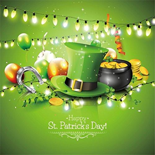 YongFoto 1,5x1,5m Foto Hintergrund Glücklichen St Patrick Tag Glücklicher Hut des irischen Shamrock Grün Fluss Kobolds Goldschatz Hufeisen Ballone Lichter leuchten Fotografie Hintergrund Fotostudio