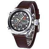 Reloj hombre Zeiger Correa de piel marron, reloj para hombre para deportes militares, con cronografo reloj hombre piel reloj hombre cuero