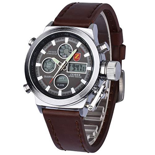 Zeiger orologio da uomo in pelle, colore: marrone militare, con cronografo