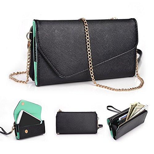 Kroo d'embrayage portefeuille avec dragonne et sangle bandoulière pour HTC One Dual Sim Multicolore - Noir/gris Multicolore - Black and Green